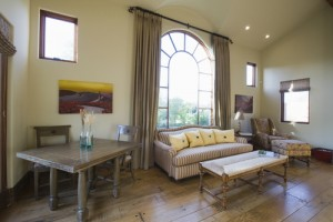Arched Window Panels in Living Room