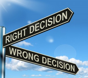 Right Or Wrong Decision Signpost Showing Confusion Outcome And Counceling